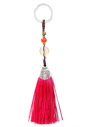 www.misstella.com - Key fob with tassel and natural stone Chalcedony