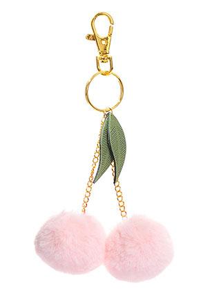 www.misstella.de - Schlüsselanhänger mit Pompons Kirschen