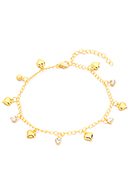 www.misstella.com - Bracelet/anklet with charms heart 22-27cm - J08291