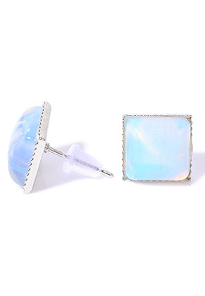 www.misstella.com - Natural stone ear studs Opalite square 17x11mm