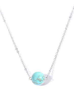 www.misstella.com - Necklace with natural stone bead Turquoise Howlite 45-50cm