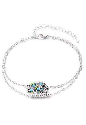 www.misstella.fr - Bracelet/bracelet de cheville avec éléphant 23-29cm
