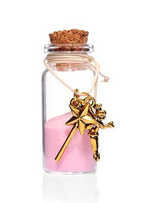 www.misstella.fr - Bouteille de souhait (Wish bottle) en verre avec bracelet elfe 54x22mm