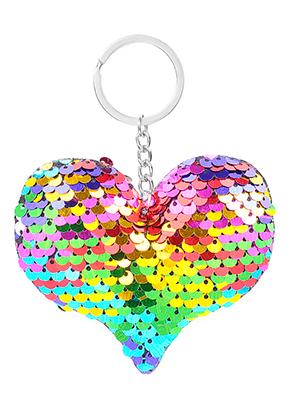 www.misstella.fr - Porte-clés avec paillettes réversibles coeur