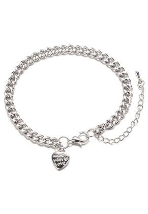 www.misstella.fr - Bracelet/bracelet de cheville en métal avec breloque coeur 19-24x0,45cm