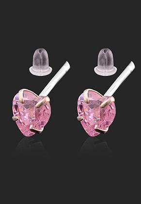 www.misstella.com - 925 Silver ear studs with zirconia heart 13x4mm