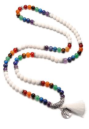 www.misstella.fr - Collier Rainbow Chakra Mala en pierre naturelle avec pompon (108 perles) 90cm