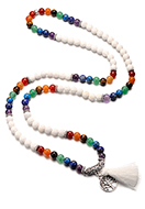 www.misstella.com - Rainbow Chakra Mala necklace with natural stone and tassel (108 beads) 90cm - J08767