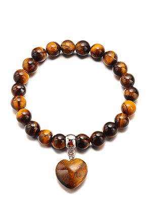 www.misstella.com - Natural stone bracelet Yellow Tiger Eye with heart 18cm