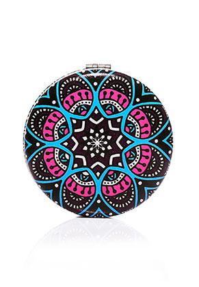 www.misstella.es - Espejo de bolsillo de sintético redondo estampado mandala 7x1,5cm