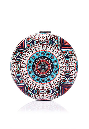 www.misstella.com - Synthetic pocket-mirror round mandala print 7x1,5cm