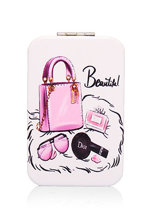www.misstella.com - Synthetic pocket-mirror rectangle fashion print 9x6x1cm