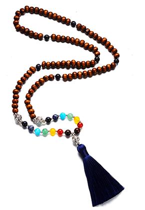 www.misstella.com - Rainbow Chakra Mala necklace with natural stone and tassel (108 beads) 84cm
