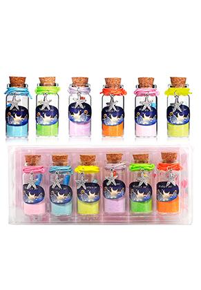 www.misstella.fr - Mélange de bouteilles de voeux (Wish bottles) en verre avec bracelets étoile de mer 54x22mm
