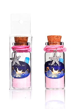 www.misstella.fr - Bouteille de voeux (Wish bottle) en verre avec bracelet étoile de mer 54x22mm