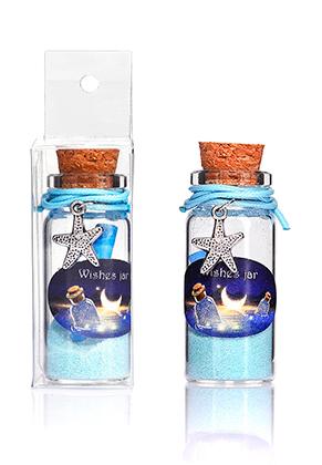 www.misstella.fr - Bouteille de souhait (Wish bottle) en verre avec bracelet étoile de mer 54x22mm