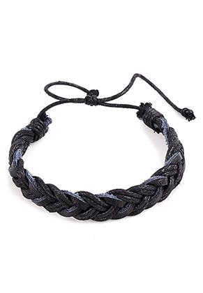 www.misstella.com - Braided bracelet with leather and wax cord 18-26cm