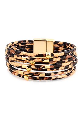 www.misstella.nl - Imitatieleren armband met kralen 20cm