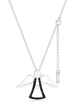 www.misstella.fr - Collier en acier inoxydable ange avec strass 44-49cm