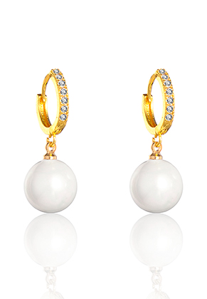 www.misstella.com - Brass hoop earrings with zirconia and mother of pearl 28x13mm