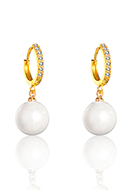 www.misstella.com - Brass hoop earrings with zirconia and mother of pearl 28x13mm - J09329