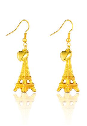 www.misstella.com - Earrings with Eiffel Tower and heart 53x13mm