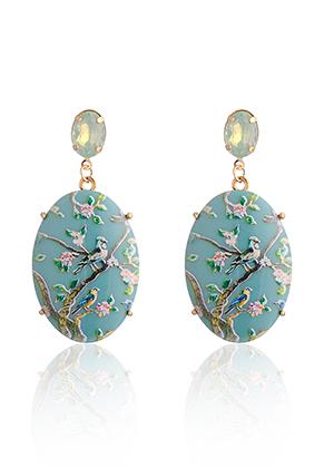 www.misstella.fr - Clous d'oreilles ovale avec oiseaux et fleurs 66x31mm