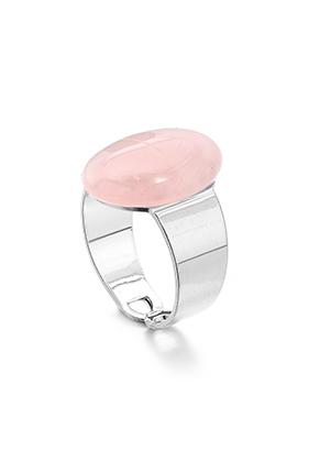 www.misstella.fr - Bague avec pierre naturelle Rose Quartz >= Ø 17,5mm