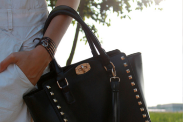 Baby what's up about great black studded handbag