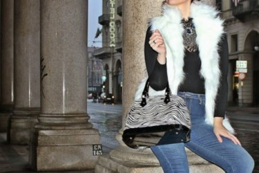 Elisabetta Bertolini about a zebra bag and a faux fur vest